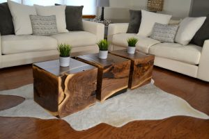 Walnut Accent Cube Coffee Table